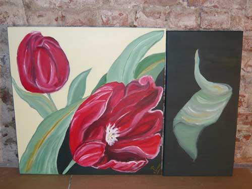 Bild mit roten Tulpen Atelier P Köln